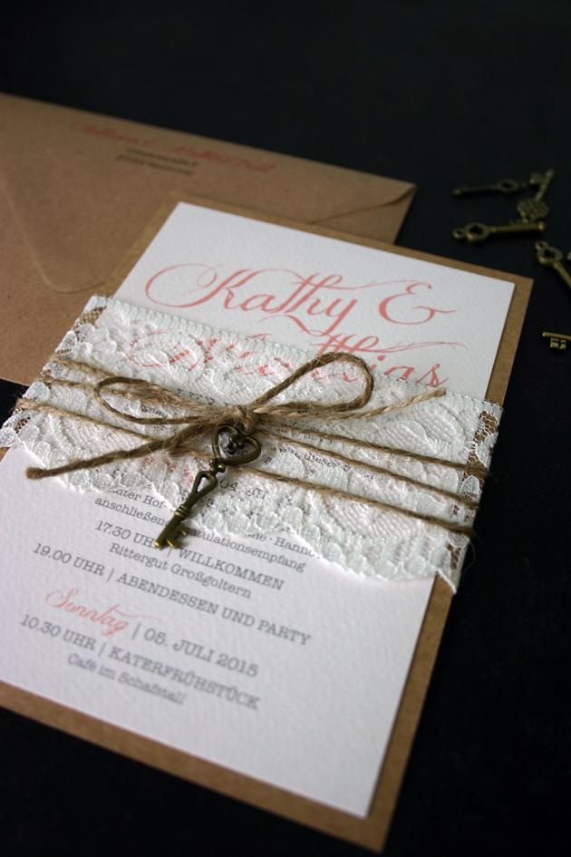 Hochzeitseinladungen mit kraftpapier und spitze - Hochzeitseinladungen mit spitze ...